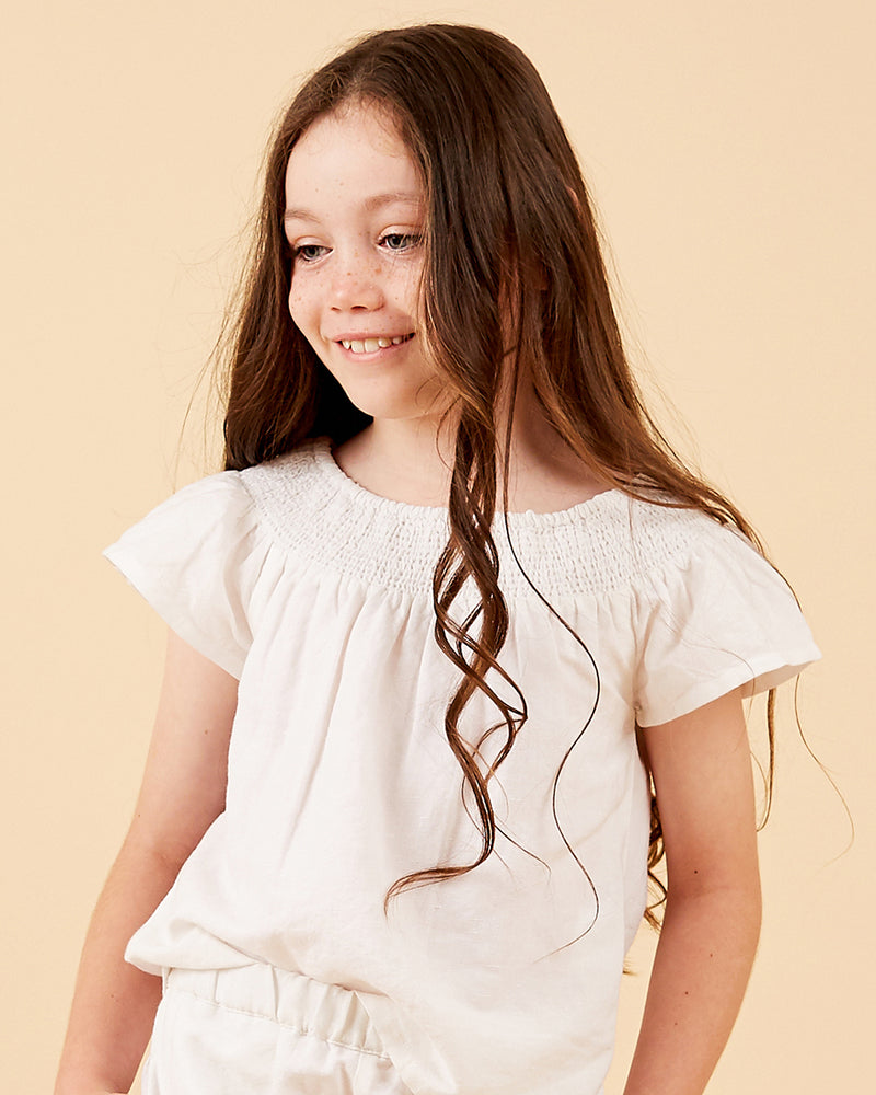Girls Bella Top - White