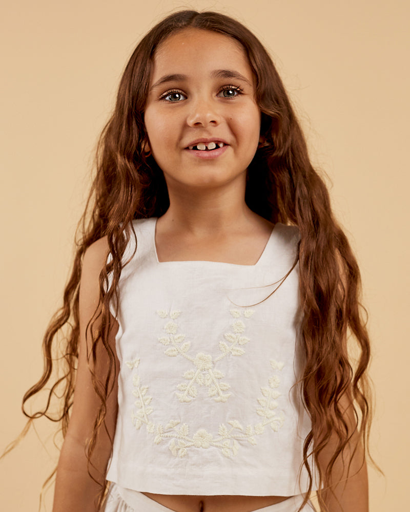 Girls Ella Top - White Embroidery