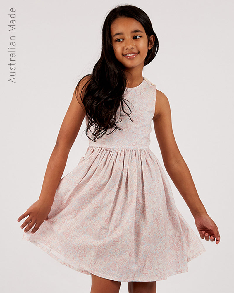 Girls Sienna Dress - Floral Sky