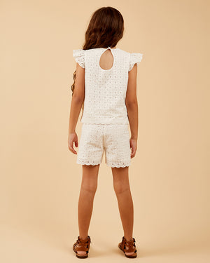 Girls Jasmine Top - Broderie Anglaise