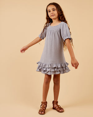 Girls Sammi Dress- Misty Grey