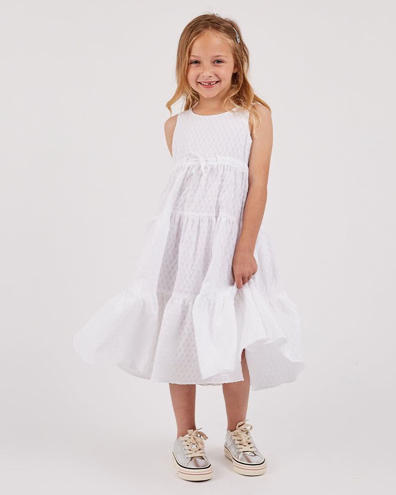 Girls Melissa Dress - White Cloud