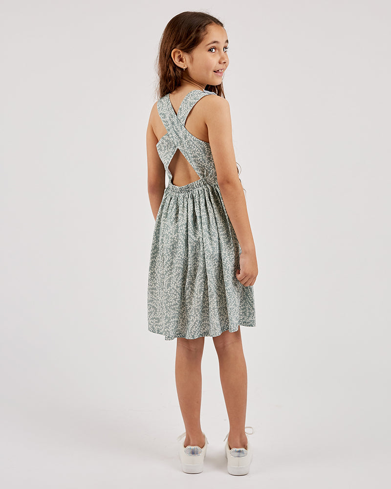 Girls Sienna Dress - Eucalyptus