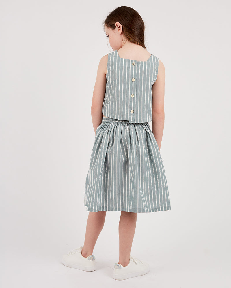 Girls Amaya Skirt - Sage Stripe