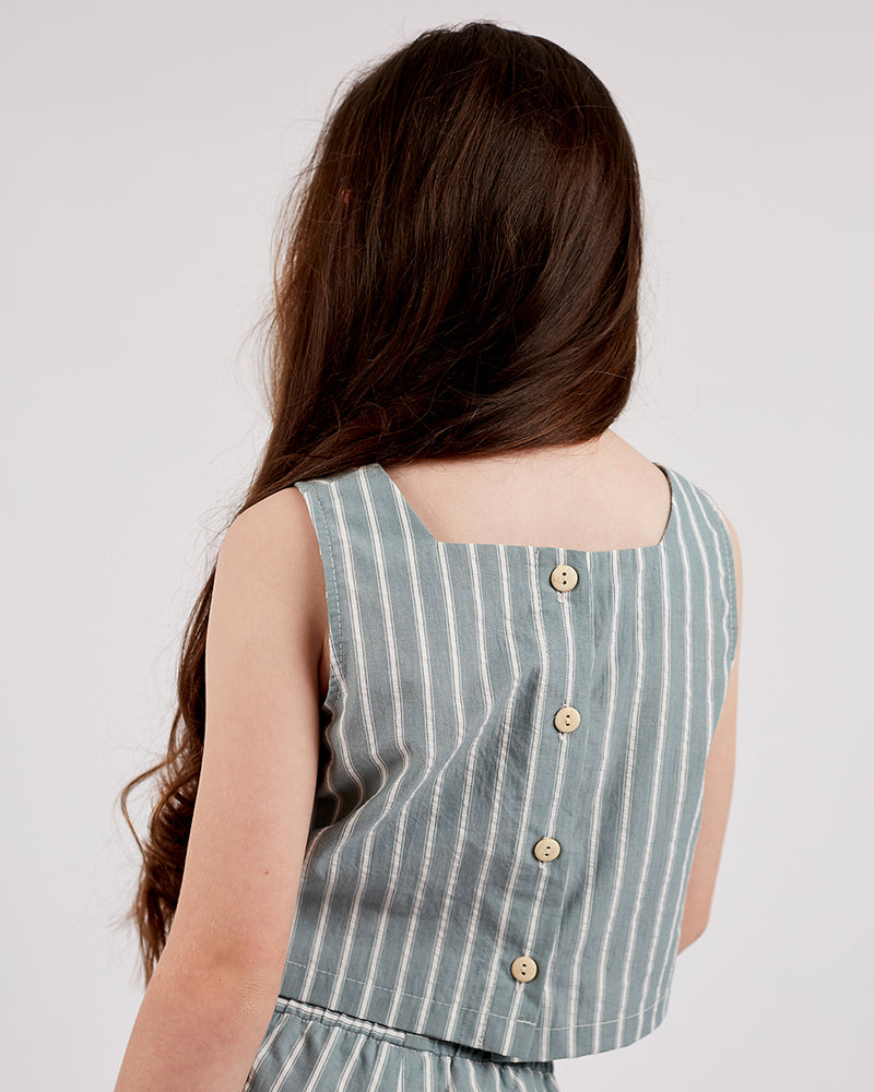 Girls Ella Top - Sage Stripe