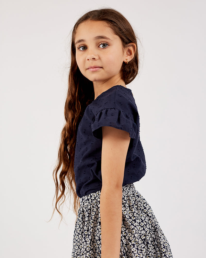 Girls Poppy Top - Navy Dobby