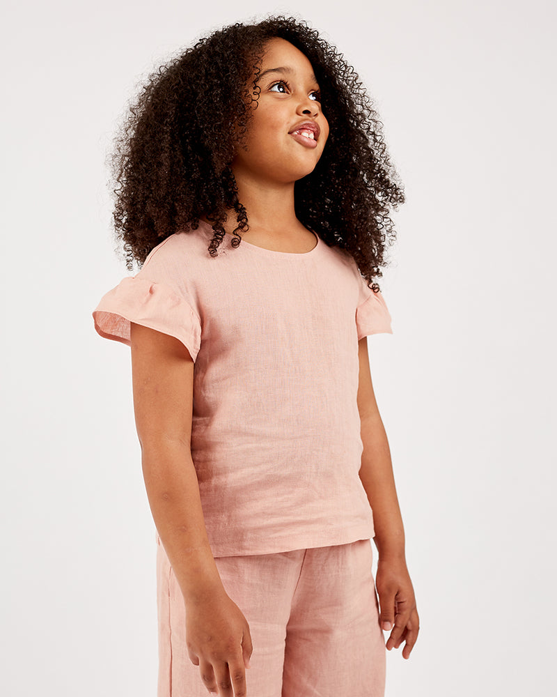 Girls Poppy  Top - Rose Petal