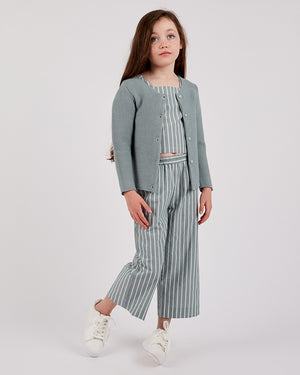 Girls Cotton Amber Cardigan - Sage