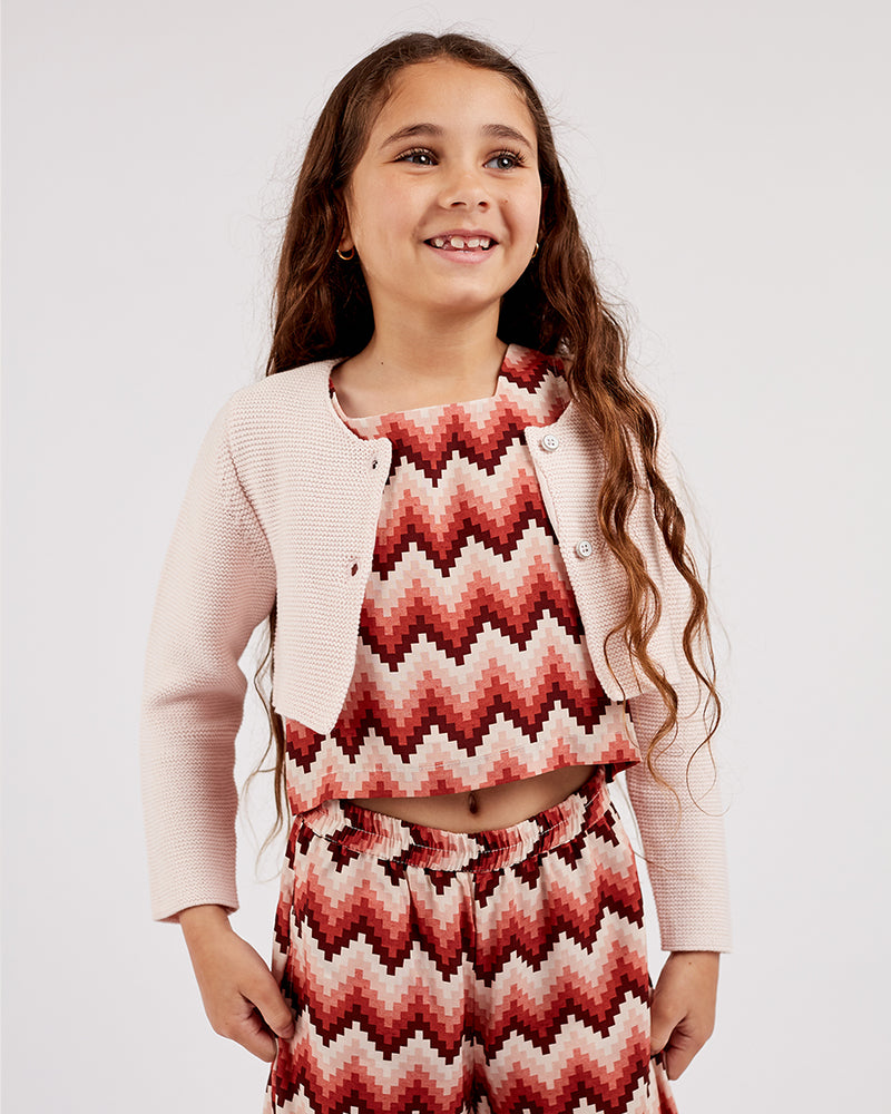 Girls Lilly Cardigan - Rose Petal