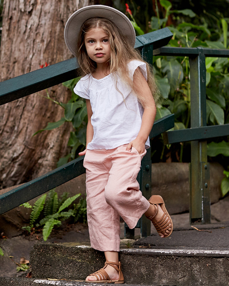Girls Linen Lylah Pant - Rose Petal
