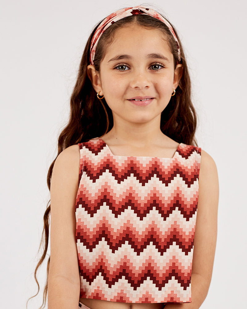 Girls Aztec Ella Top - Rose Petal