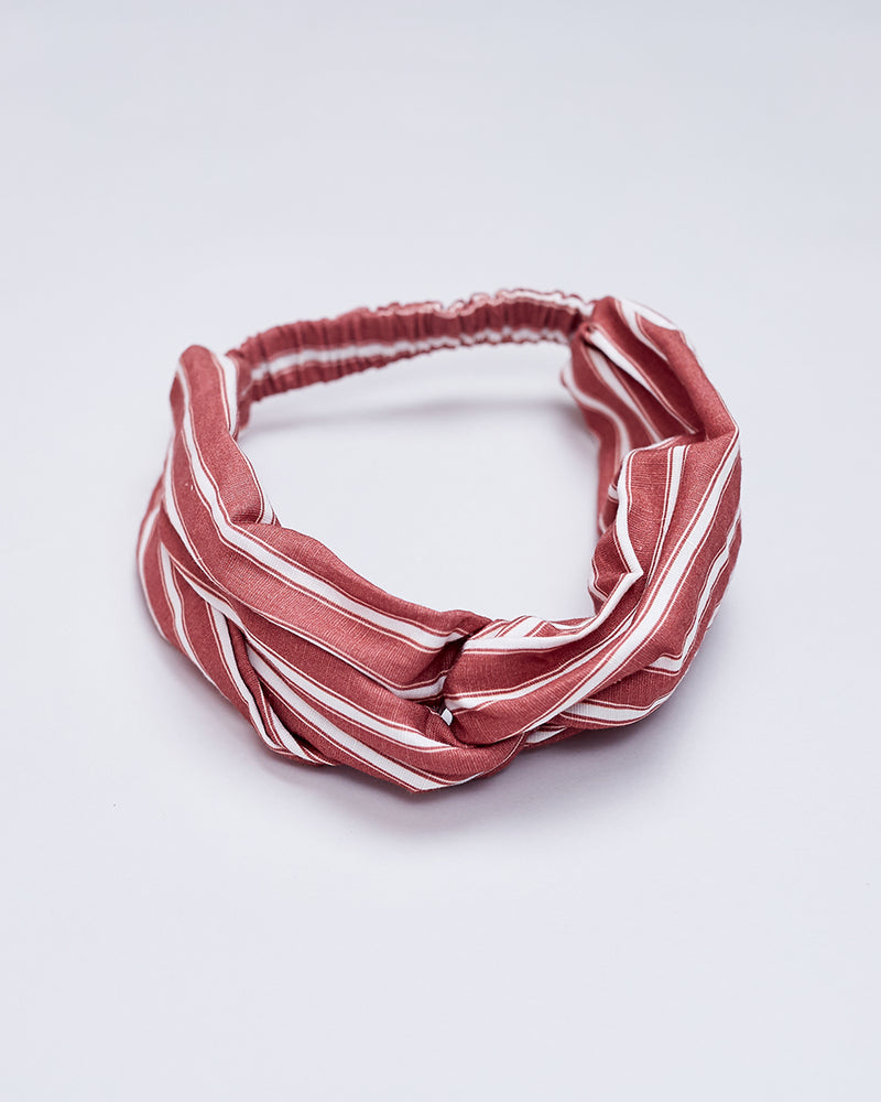 Girls Striped Headband - Desert Red