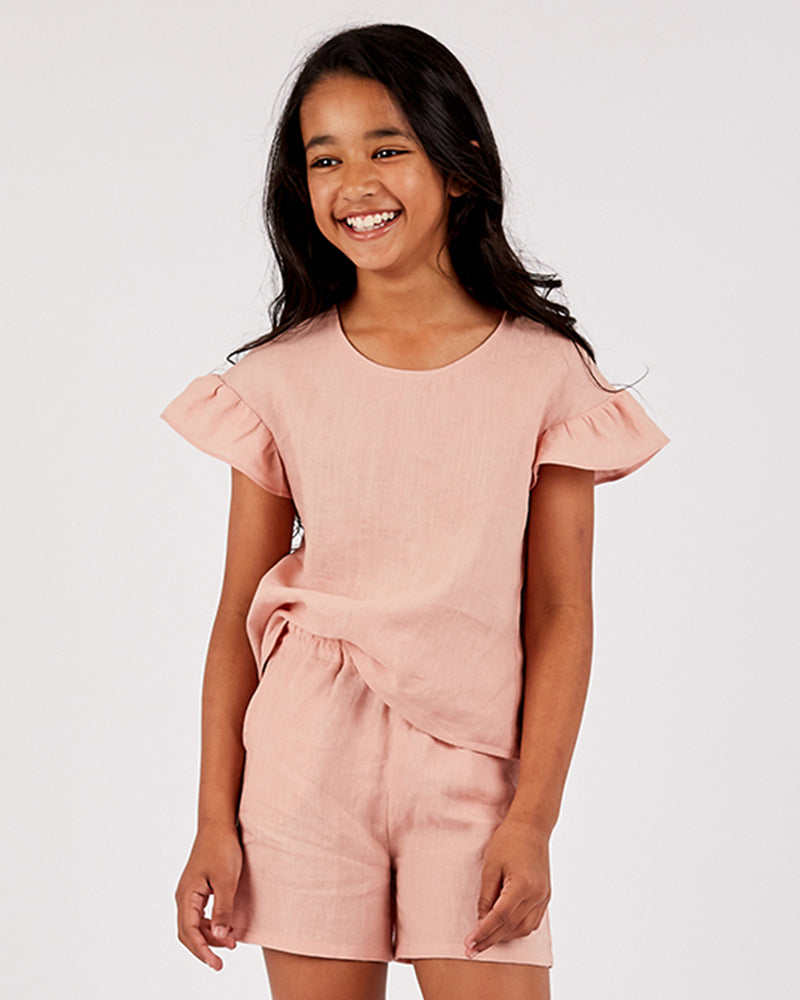 Girls Linen Paige Short - Rose Petal