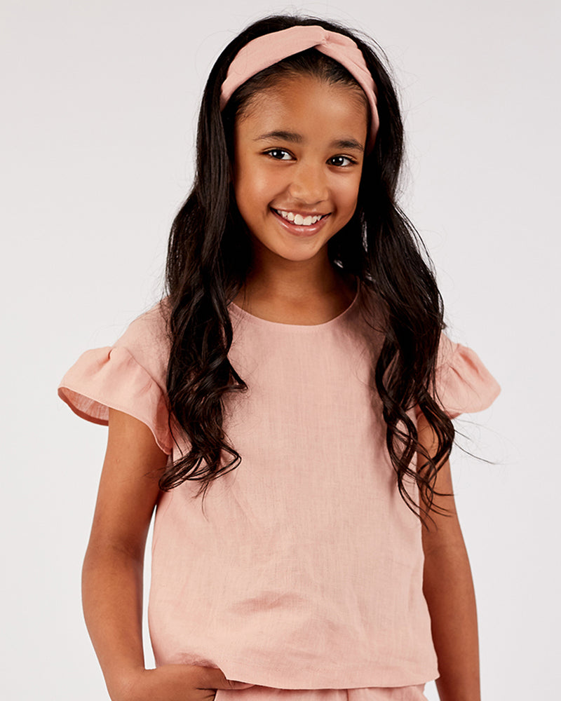 Girls Linen Poppy Top - Rose Petal