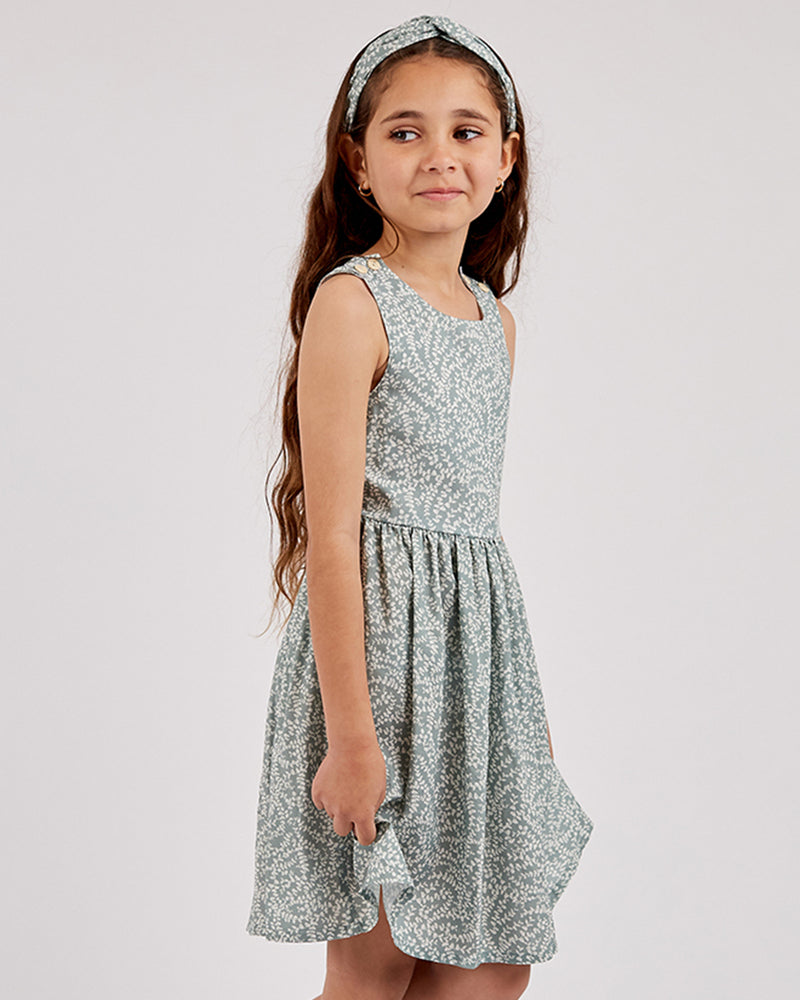 Load image into Gallery viewer, Girls Eucalyptus Sienna Dress - Sage
