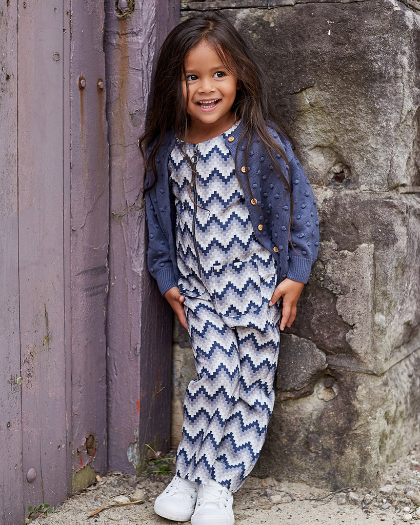 Girls Chloe Jumpsuit - Indigo Aztec
