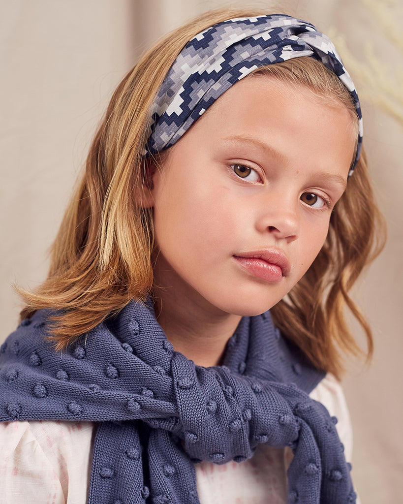Girls Aztec Headband - Indigo