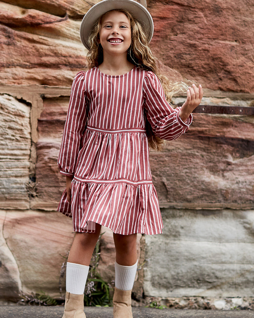 Girls Nava Dress - Desert Stripe