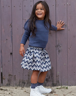 Girls Scarlett Skirt - Indigo Aztec