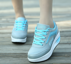 Casual Color Matching Running Platform Lace Up Zapatos Deportivos