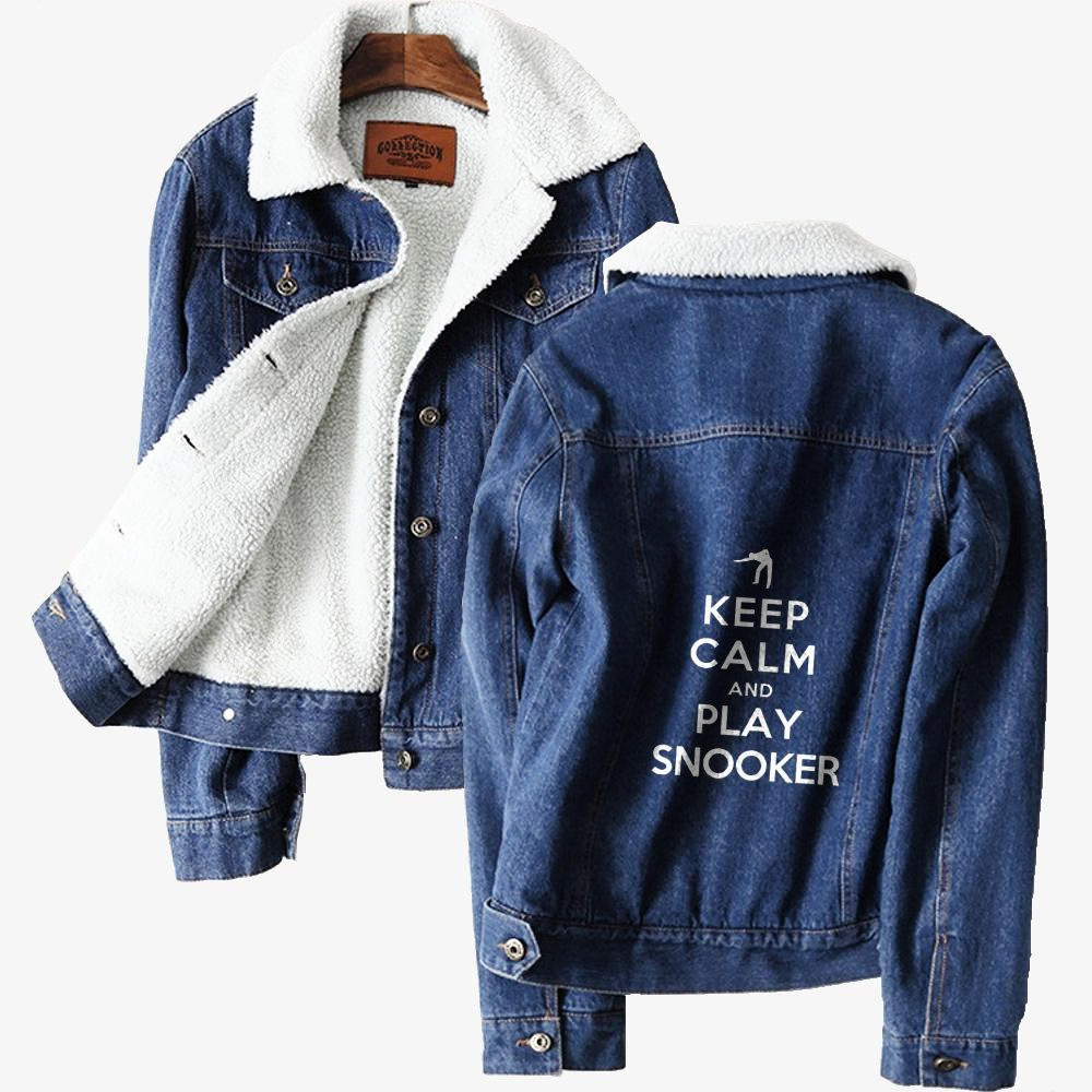 Keep Calm And Play Snooker Denim Jacket