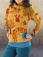 Kartoon Tier Print Rollkragen Sweatshirt