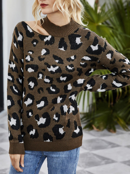 Langarm Leopard Print Cut-Out Rundhals Pullover