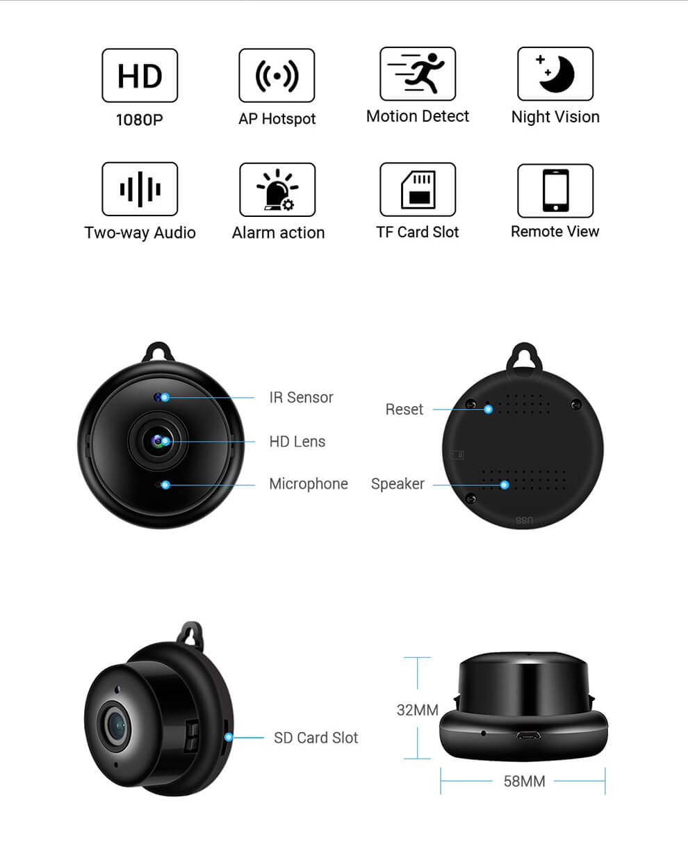 Mini Wireless WiFi Camera Features