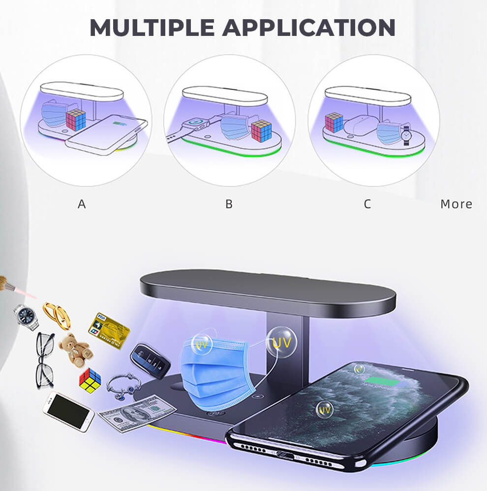 Sanitizing Wireless Charging Station Multiple Application