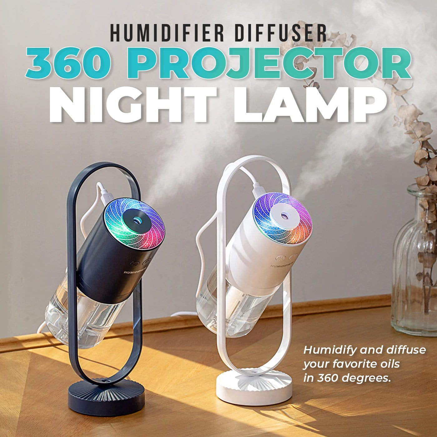 Humidifier Diffuser 360 Projector Night Lamp