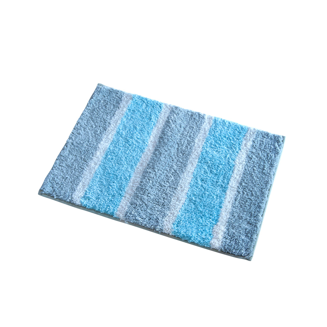COTONSOFT Bold Stripe Microfiber Bath Mat - Grey