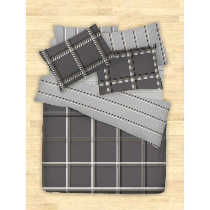COTONSOFT KORECCA HAGUES DARK GREY BEDSHEET SET