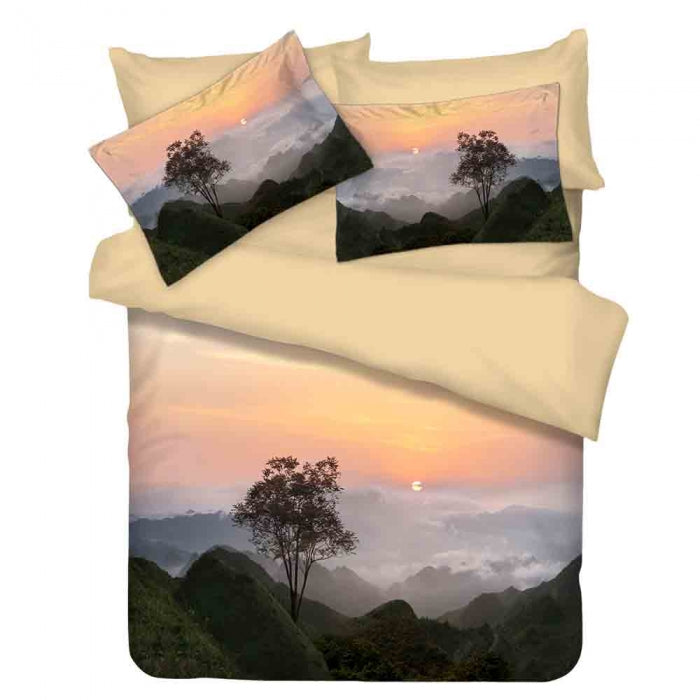 JEAN PERRY ECOSILK SCENERY SUNSET KING QUILT COVER SET