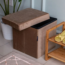 Load image into Gallery viewer, CASA STUDIO JOSSIE STORAGE SUEDE STOOL COLLECTION - SMALL