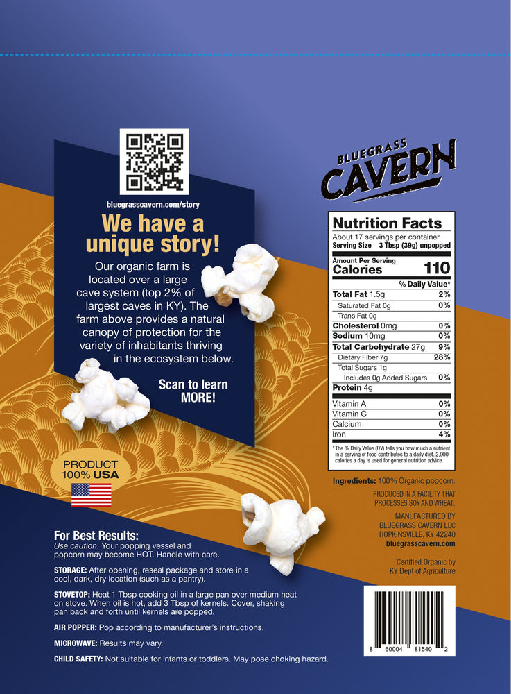 Load image into Gallery viewer, Bluegrass Cavern Organic Blue Popcorn Kernels Package Back