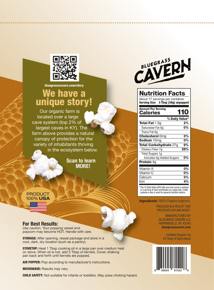Load image into Gallery viewer, Bluegrass Cavern Organic White Popcorn Kernels Package Back