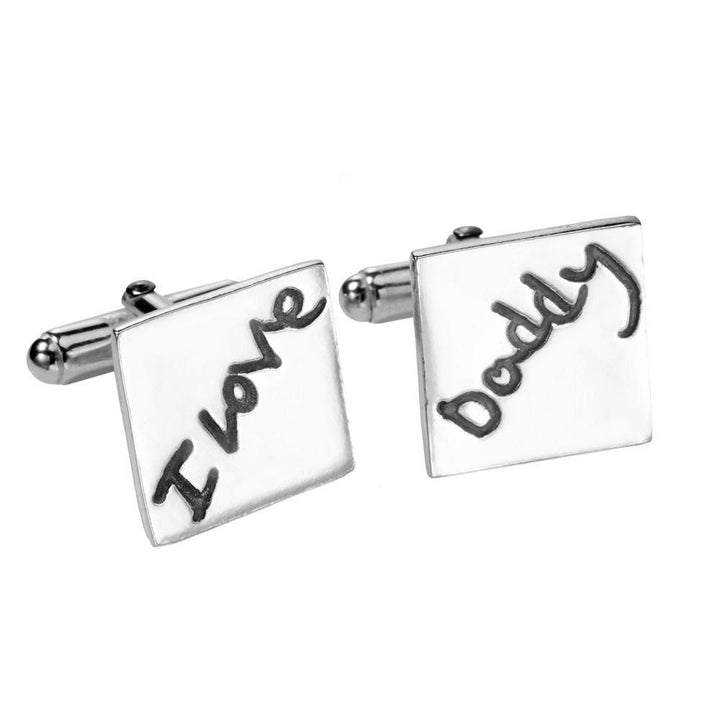 Handwriting Cufflinks - Square-Smallprint Franchising Ltd