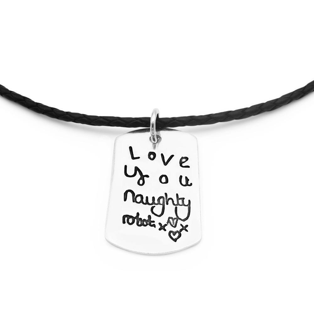 Handwriting Necklace - Leather-Smallprint Franchising Ltd