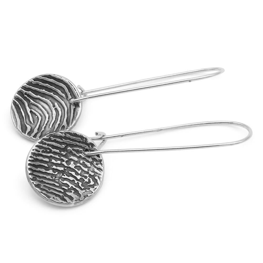 """Tender Touch"" Fingerprint Earrings - Long Dangle-Smallprint Franchising Ltd"