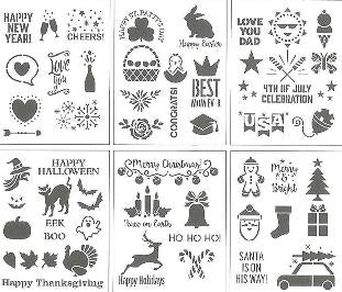 "04837 DELTA STENCIL HOLIDAY 6"" X 7.75"" 6 PIECES-PKG OF 3"