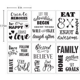"04846 DELTA STENCIL PHRASES 6"" X 7.75"" 6 PIECES-PKG OF 3"