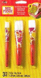 10615 PLAID MOD PODGE DECOUPAGE TOOLS-SHORT HANDLE 3 PIECE BRUSH SET-PKG OF 3