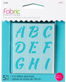 "27457 FABRIC CREATIONS ADHESIVE STENCILS-ALPHABET SWEETS-2.5"" X 3""-5 PIECES-SET OF 3"