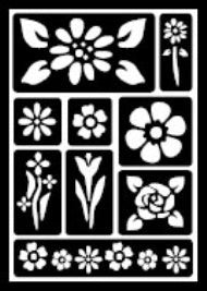 30459 PLAID FOLKART PEEL AND STICK ADHESIVE STENCILS-FLORAL-PKG OF 3