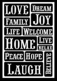 30465 PLAID FOLKART PEEL AND STICK ADHESIVE STENCILS-HAPPY WORDS-PKG OF 3