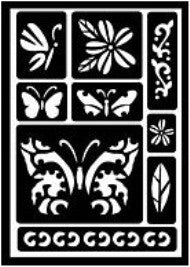 30582 PLAID FOLKART PEEL AND STICK ADHESIVE STENCILS-BUTTERFLY-PKG OF 3