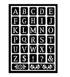 30749 PLAID FOLKART PEEL AND STICK ADHESIVE STENCILS-OLD SCHOOL ALPHABET-PKG OF 3