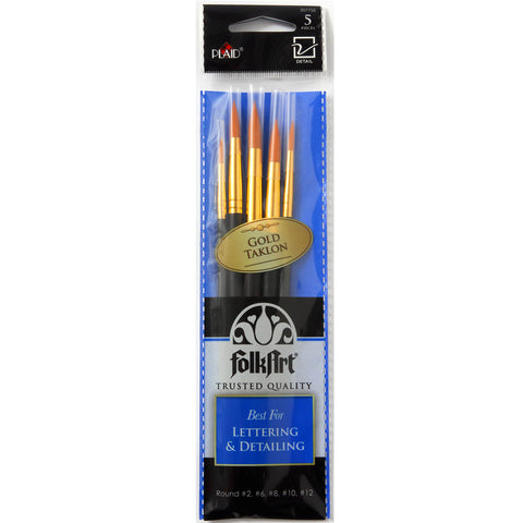 30775E FOLKART BRUSH SETS-LETTERING AND DETAIL BRUSH SET OF 5-PKG OF 3