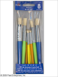 34107 PLAID STENCIL DECOR ACCESSORIES-STENCIL BRUSH SET-PKG OF 3