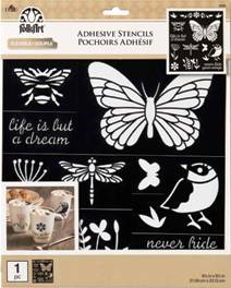 "39269 FOLKART STENCILS-LASER CUT PEEL AND STICK ADHESIVE 8.5"" X 9.5""- BIRDS, BEES & MORE-PKG OF 2"